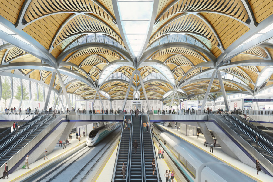 A digital rendering of the inside of the finished station