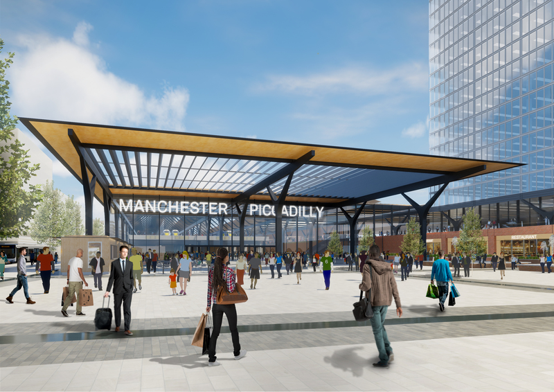 Architects vision of the new station for high speed trains serving Manchester