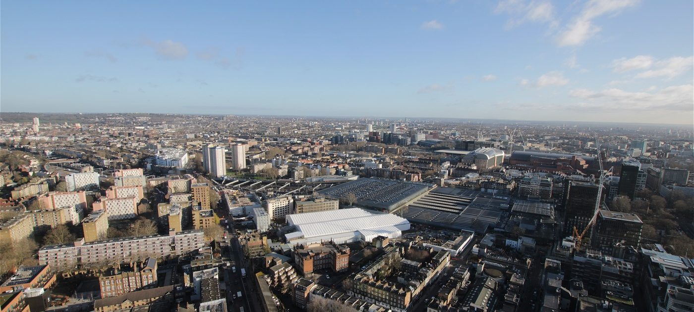 Aerial view over the HS2 works at and around Euston Station