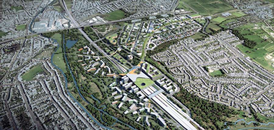 CGI image of the future site of the East Midlands Station for the HS2 high speed railway