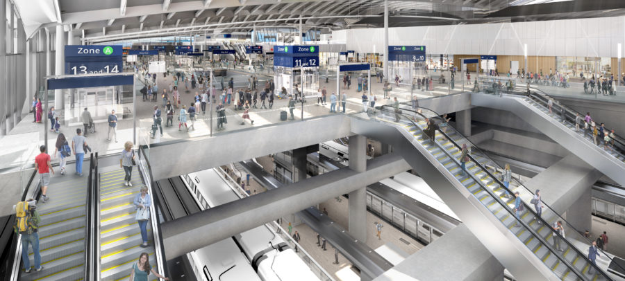 Escalators will take passengers down to the HS2 platforms, with a new public park built above them.