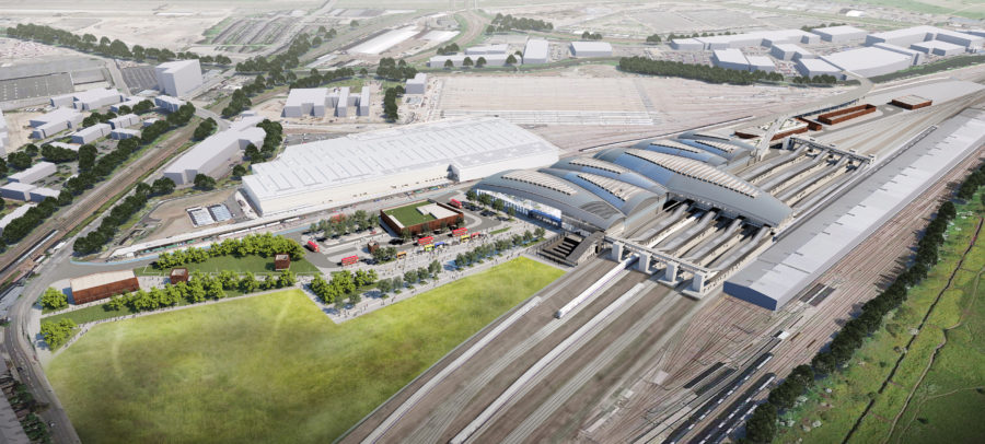 Aerial view of the HS2 Old Oak Common station and surrounding area.