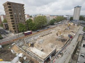demolition site next to Hampstead Road