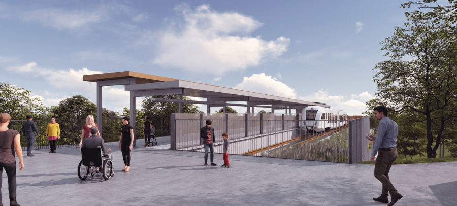 Designs show the driver-less people mover arriving into Interchange station.