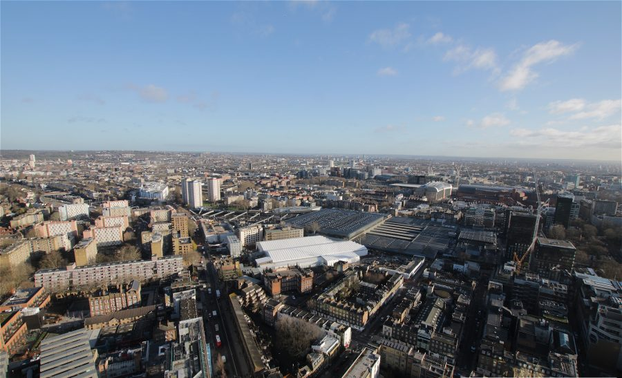 Aerial view of Euston looking East in daylight