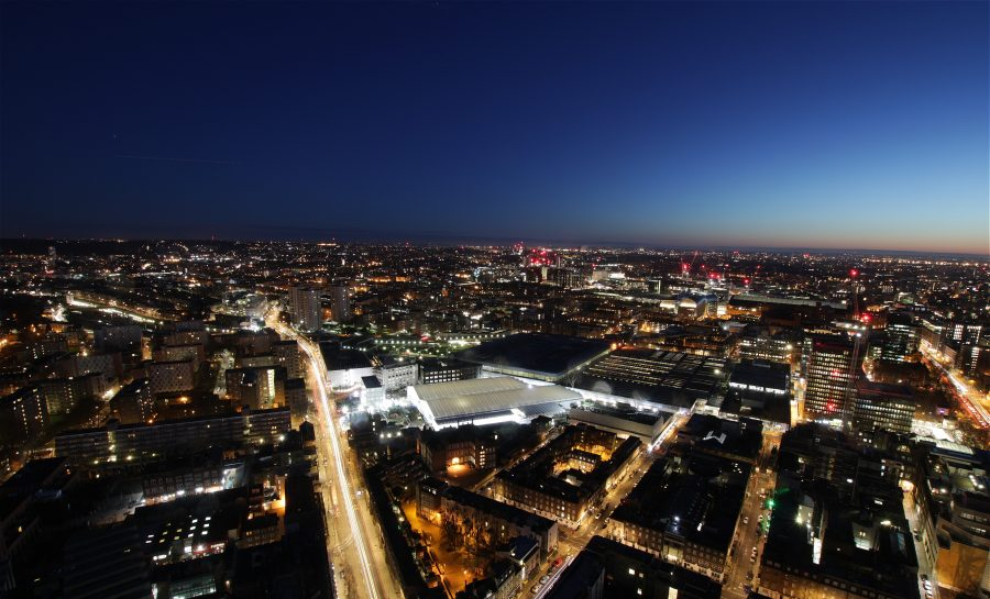 Aerial view of Euston looking East before dawn.