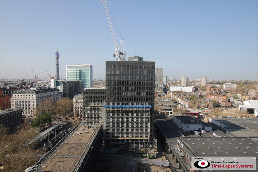 Euston Station tower blocks in April 2019