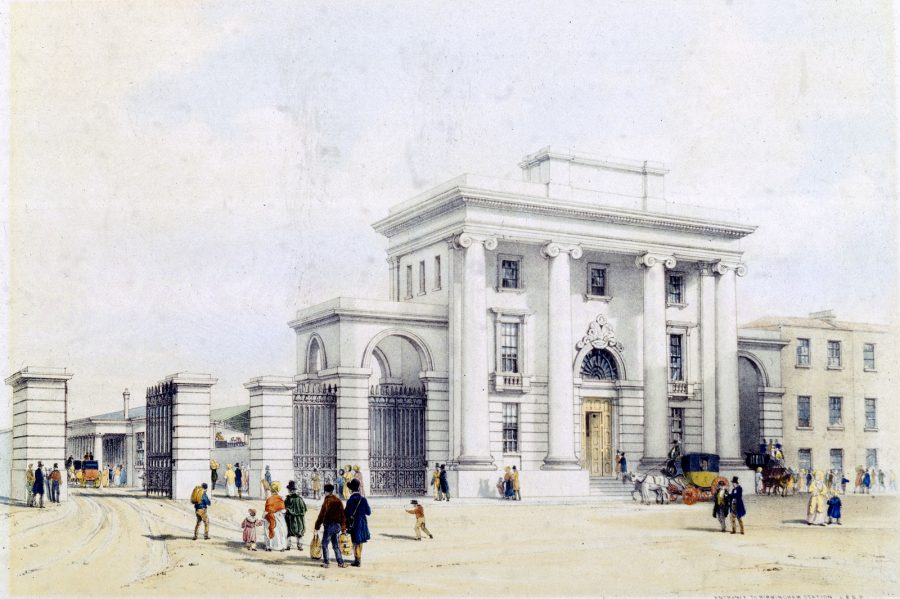 Lithograph showing Birmingham station on the London & Birmingham Railway