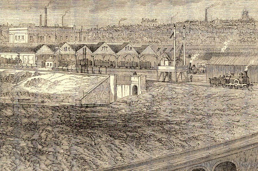 Detail of engraving by T Sulman depicting the Old Curzon Street Station from Illustrated London News (18 September 1865).