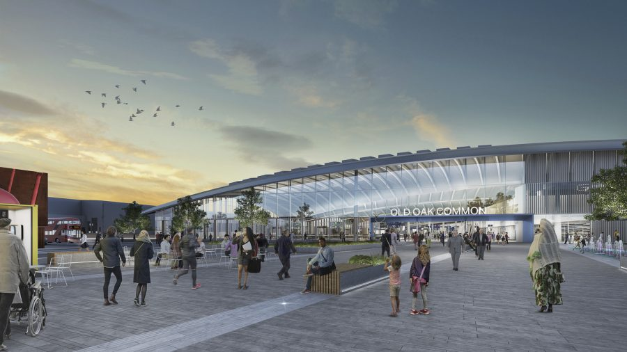 CGI showing front entrance of Old Oak Common