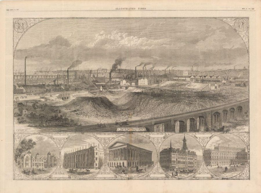 Engraving by T Sulman depicting Birmingham from Illustrated London News (18 September 1865) by by T Sulman. Old Curzon Street Station can be seen on the right of the main image.