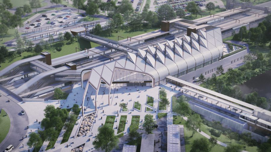 CGI showing aerial view of Interchange station